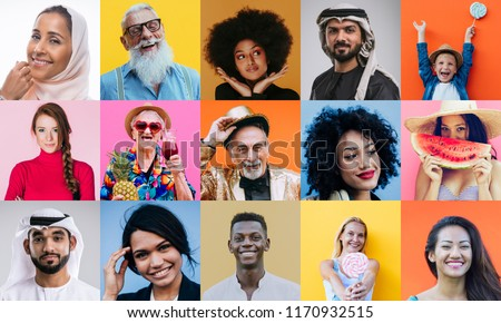 Collage with many different people of various ethicities, on colored backgrounds