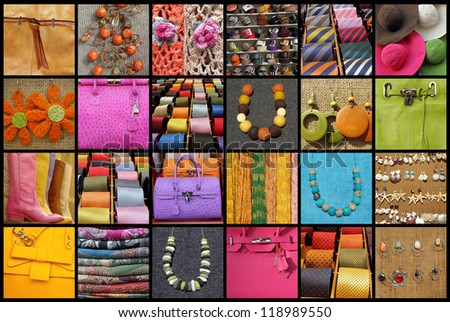 collage with many fashionable accessories
