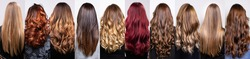 collage with many hairstyles of women with long curly and straight hair, styles with bright highlights