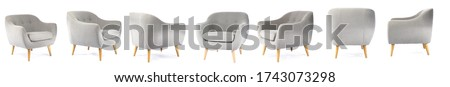 Collage with modern comfortable armchair on white background Foto stock ©
