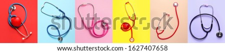 Collage with modern stethoscopes on color background