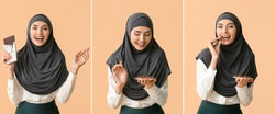 Collage with Muslim woman eating tasty chocolate and candies on color background
