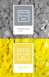 Collage with New Pantone Illuminating, Ultimate gray color of the year 2021
