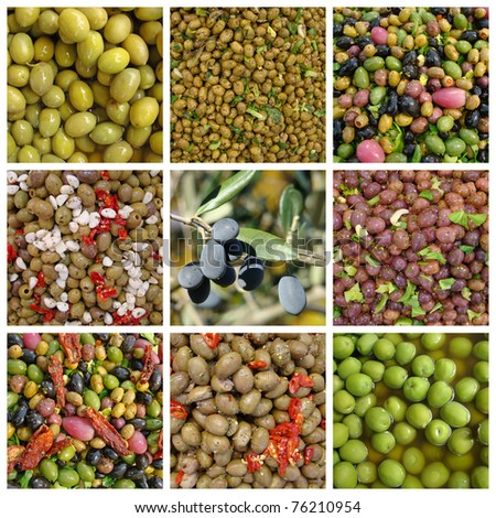 collage with olives