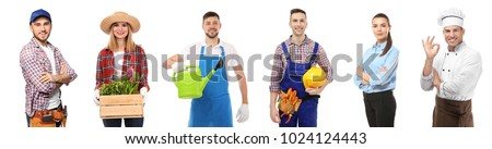 Collage with owners of different small businesses on white background Сток-фото ©