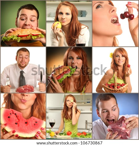 collage with people eating food