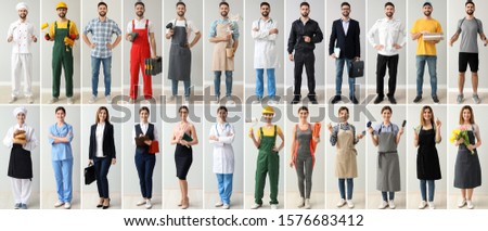 Collage with people in uniforms of different professions  Photo stock ©