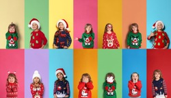 Collage with photos of adorable children in different Christmas sweaters on color backgrounds