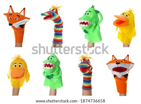 Collage with photos of different puppets for show on hands against white background Foto stock ©