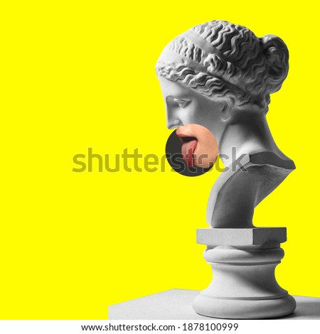 Collage with plaster head model, statue and female portrait isolated on yellow background. Negative space to insert your text. Modern design. Contemporary colorful and conceptual bright art collage.