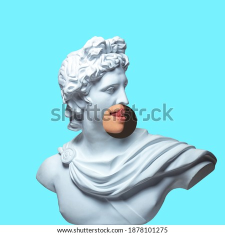 Collage with plaster head model, statue and male portrait isolated on blue background. Negative space to insert your text. Modern design. Contemporary colorful and conceptual bright art collage.