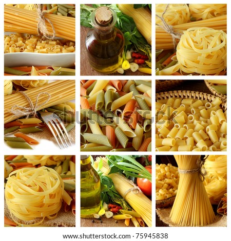 Collage with Raw pasta