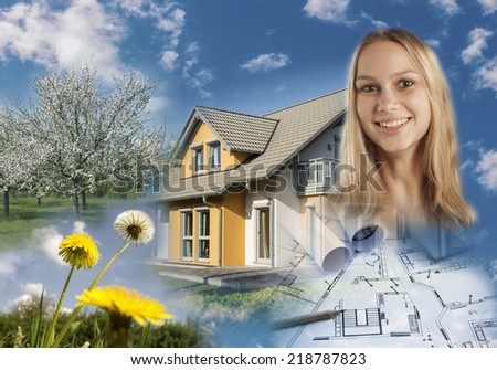 Collage with real estate, blueprint, a garden and a smiling young woman.
