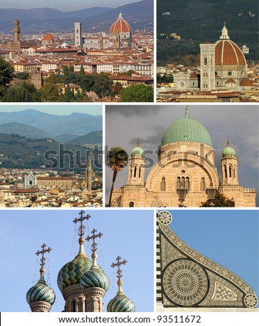 collage with religious landmarks of Florence, Italy, Europe