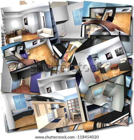 Collage with renderings of home interiors - stock photo