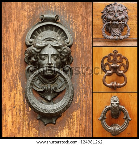 collage with retro door knockers, images from Italy - stock photo