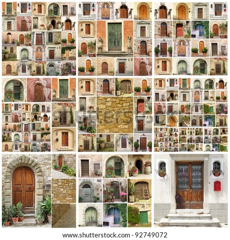 collage with retro doors from Italy