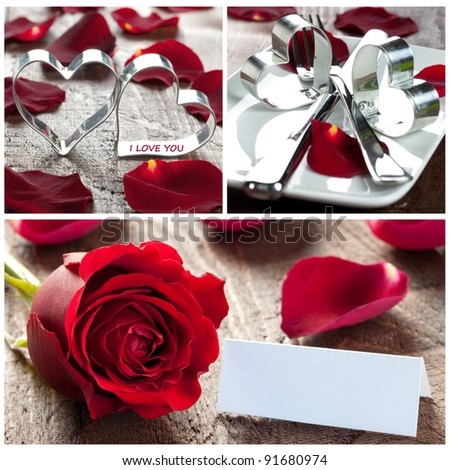 collage with roses, hearts and table setting