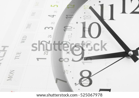 Collage with round clock and calendar pages, time concept. #525067978