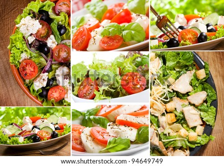 collage with salad