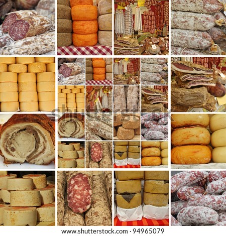 collage with  sausages and cheese on italian   market, Tuscany, Italy, Europe