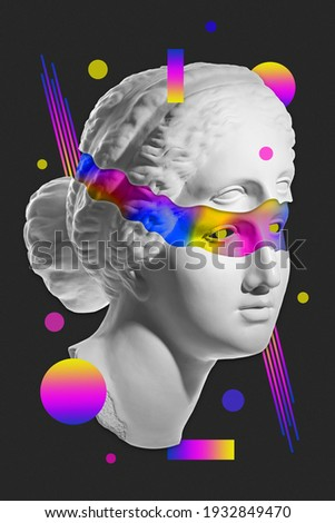 Collage with sculpture of human face in a pop art style. Modern creative concept image with ancient statue head. Zine culture. Contemporary art poster. Funky punk minimalism. Retro surreal design. Сток-фото ©