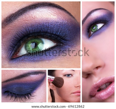 Collage with smoky eyes make-up