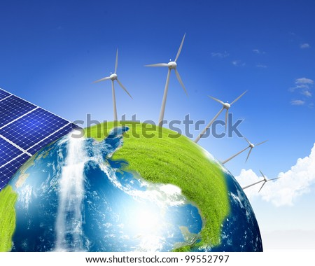 Collage with solar batteries - stock photo