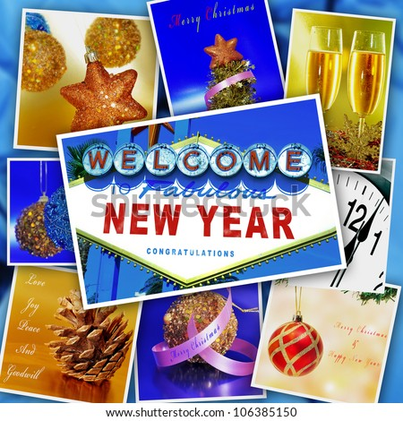collage with some pictures and postcards with merry christmas and happy new year wishes and objects