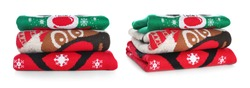 Collage with stacked folded Christmas sweaters on white background. Banner design