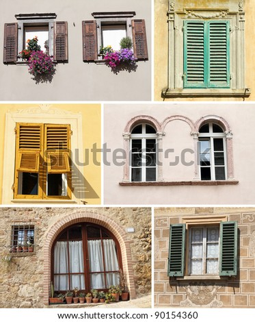 collage with sunny windows in Italy