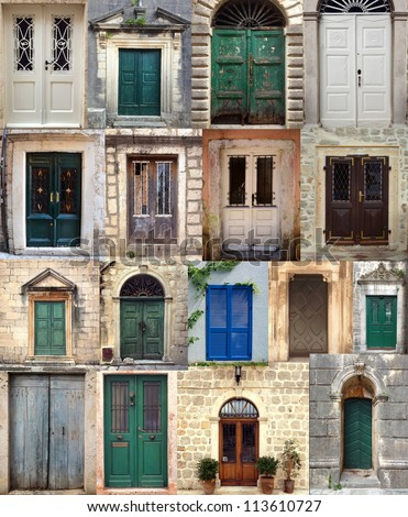 Collage with the doors from  Montenegro