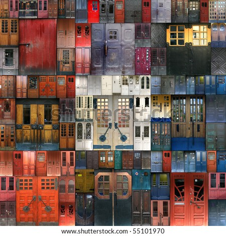 Collage with the doors from Turku. Finland