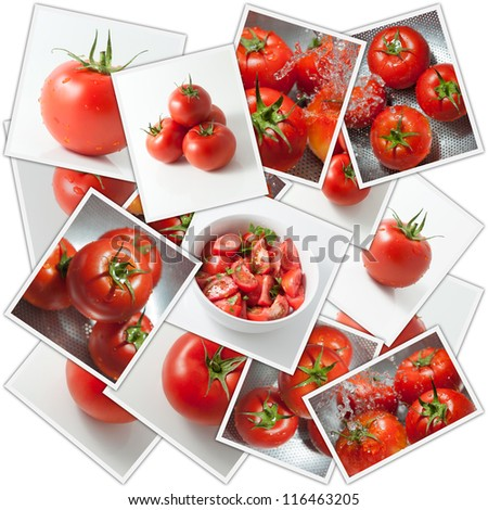 Collage with tomatoes in different stages of preparation