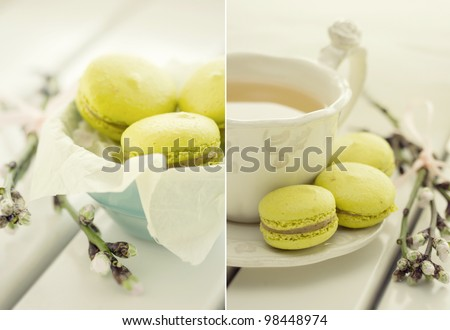 collage with traditional french macrons and tea set on the background
