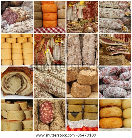 collage with traditional typical  italian sausages and cheese on tuscan farmer market, Italy, Europe