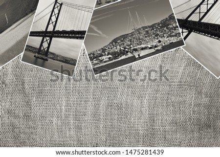 Collage with travel images on vintage burlap, travel concept background sepia toned