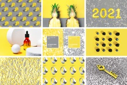 Collage with trendy colors 2021. Lifestyle Illuminating yellow and Ultimate Gray images background concept