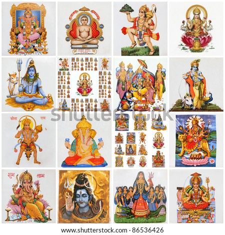 collage with variety of asian religious symbols as: Lakshmi, Ganesha, Hanuman, Vishnu, Shiva, Parvati, Durga, Buddha, Rama,Krishna,