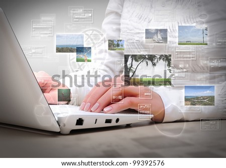 Collage with white laptop computers and symbols of communication