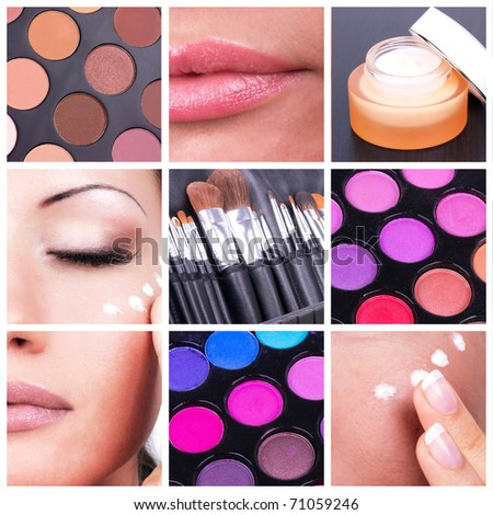 Collage with woman and make-up tools