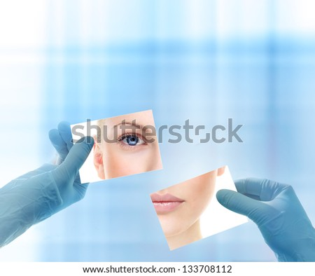 Collage with woman's portrait and hands in medical gloves against abstract blue background. Beauty treatment concept.