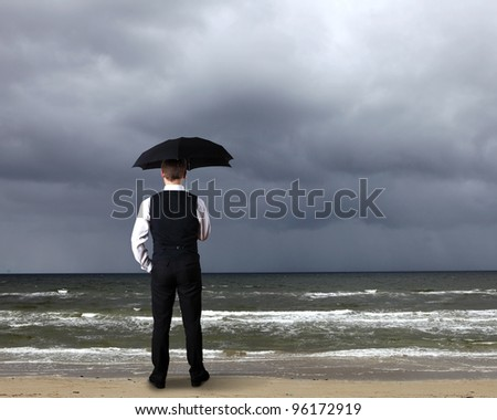 Collage with young businessman against weather background