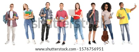 Collage with young students on white background