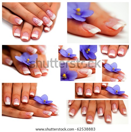 collage Womans hand with French manicure - stock photo