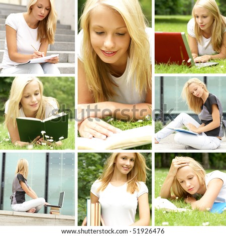 Collage. Young female student prepares for the exam.