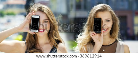 Collage, Young women covers her face screen smart phone on a background of the city #369612914