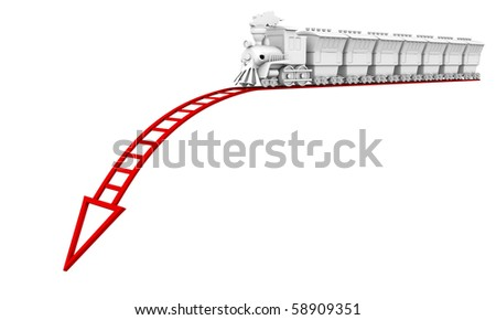 Collapse of business. The train goes to the bottom of a red rails.