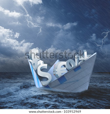 Collapse of economy concept with money symbols on the boat - stock photo