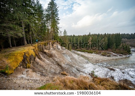 collapsed and roads cracked down as a result of landslides deu water. Slide soil erosion, row of trees exposed to seaside cliff face erosion with crumbling earth Photo stock ©